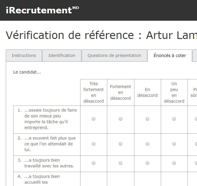 Vérification de références